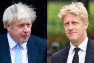 El primer ministro británico y su hermano, Boris y Jo Johnson, en Londres.