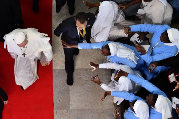 Maputo (Mozambique).- <HIT>Pope</HIT> Francis during the meeting with...