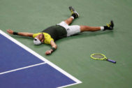 Sep 4, 2019; Flushing, NY, USA; Matteo <HIT>Berrettini</HIT> of Italy celebrates after match point against Gael Monfils of France (not pictured) in a quarterfinal match on day ten of the 2019 US Open tennis tournament at USTA Billie Jean King National Tennis Center. Mandatory Credit: Geoff Burke-USA TODAY Sports TPX IMAGES OF THE DAY