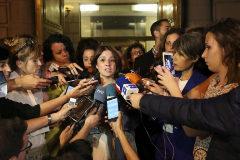 Adriana Lastra, a la salida de la reunión.