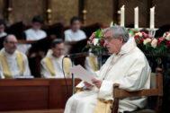 El Padre Abad de Montserrat, Josep María Soler, en un momento de la homilía en la que anunció la creación de la comisión de investigación, el pasado febrero.