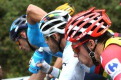 GRAF6952. LEMOA (VIZCAYA).- El ciclista esloveno del equipo Jumbo-Visma y líder de la clasificación general, Primož Roglic y el murciano del Movistar, Alejandro <HIT>Valverde</HIT>,durante la duodécima etapa de la Vuelta a España 2019, con salida en el Circuito de Navarra, y llegada a Bilbao y 171,4 kilómetros de recorrido.