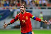 Sergio Ramos en el partido de clasificación para la Eurocopa 2020...