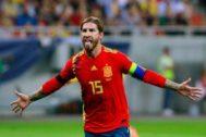 Sergio Ramos en el partido de clasificación para la Eurocopa 2020 ante Rumanía