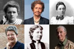 Mujeres de Ciencia, arriba y de izda. a dcha: Marie Curie, Margarita Salas, Emmy Noehter y, abajo, Jocelyn Bell, Sophie Garmain y Jean Goodall