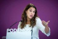 La portavoz de Podemos, Noelia Vera, el pasado lunes.