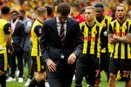 Gracia, abatido tras la derrota en la final de la FA Cup.