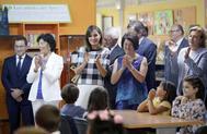 La ministra Isabel Celaá, a la derecha de la Reina Letizia, en la inauguración del curso escolar en Oviedo, en 2018.