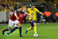 Stockholm (Sweden).- Sweden's Kristoffer Olsson (R) in action against Norwegian players Ole Selnaes (L) and Martin <HIT>Odegaard</HIT> (C) during the UEFA EURO 2020 qualifying group F soccer match between Sweden and Norway at Friends Arena in Solna, Sweden, 08 September 2019. (Noruega, Suecia) EPA/ SWEDEN OUT