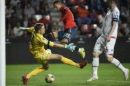Rodrigo marca el primer gol de España frente a Islas Feroe.