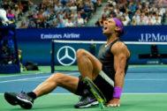 Rafa Nadal celebra la victoria ante Medvedev.
