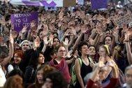 Manifestación feminista en protesta por la sentencia de 'La Manada', en Madrid en mayo de 2018