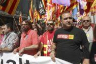 Javier Pacheco de CCOO y Camil Ros de UGT en la Manifestación del 1º de Mayo