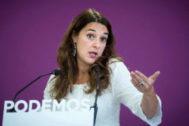 GRAF5106 MADRID, 2/9/2019.- La portavoz de Podemos, <HIT>Noelia</HIT> <HIT>Vera</HIT>, durante la rueda de prensa que ofreció hoy lunes en la sede de su partido tras la reun ión del Consejo de Coordinación de la formación.