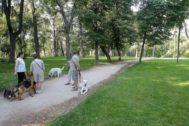 Varios vecinos paseando a sus perros en El Retiro.