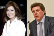La presentadora Ana Rosa y el padre de Diana Quer, Juan Carlos, en sendas fotos de archivo.