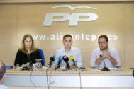 Montesinos, Sánchez y Almodóbar, ayer, durante su comparecencia.