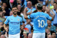 <HIT>Manchester</HIT> (United Kingdom).- <HIT>Manchester</HIT> <HIT>City</HIT>'s Bernardo Silva (L) celebrates with his teammate Sergio Aguero (R) after scoring the 4-0 lead during the English Premier League soccer match between <HIT>Manchester</HIT> <HIT>City</HIT> and Brighton Hove Albion in <HIT>Manchester</HIT>, Britain, 31 August 2019. (Reino Unido) EPA/ EDITORIAL USE ONLY. No use with unauthorized audio, video, data, fixture lists, club/league logos or 'live' services. Online in-match use limited to 120 images, no video emulation. No use in betting, games or single club/league/player publications