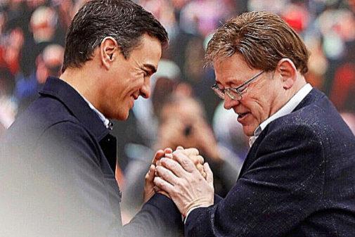 Pedro Sánchez y el presidente de la Generalitat Valenciana, Ximo...