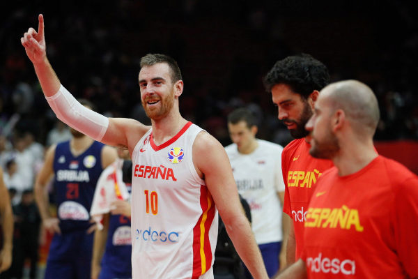 Wuhan (China).- Spain's Victor Claver celebrates the team's win after...