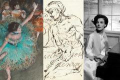 De izq. a der: 'Bailarina basculando' de Degas, un dibujo de Goya y la actriz Delphine Seyrig.