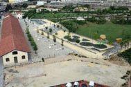 Vista aérea del solar por ajardinar del Parque Central.