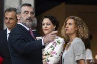 El presidente del Senado, Manuel Cruz, junto a la del Congreso, Meritxell Batet, y los ministros Pedro Duque y Magdalena Valerio.