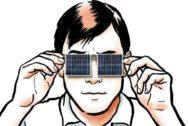 Ilustración de un hombre con unos paneles solares en forma de gafas de sol.