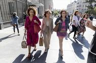 María Jesús Montero, Carmen Calvo y Adriana Lastra, a su llegada al Congreso.
