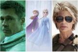 De izda. a dcha: Brad Pitt, protagonista de 'Ad Astra'; una imagen de 'Frozen 2'; y Linda Hamilton, en el regreso de 'Terminator'.
