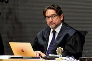 El juez Salvador Alba, en un juicio en la Audiencia de Las Palmas.