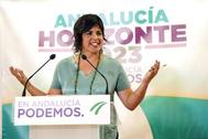 La coordinadora de Podemos en Andalucía, Teresa Rodríguez, este martes en la sede del partido.