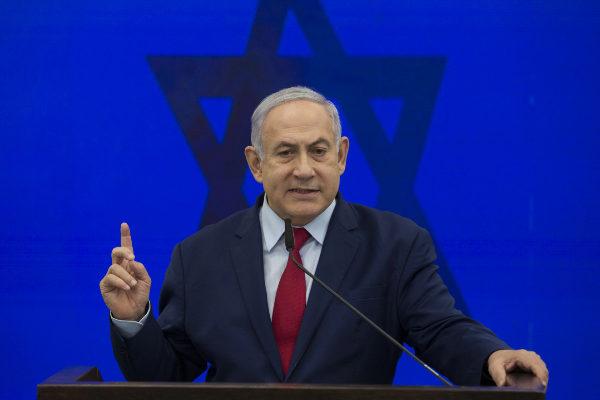 El primer ministro israelí Benjamin Netanyahu anucia su promesa de...