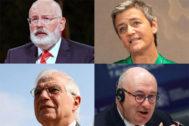 Arriba, Frans Timmermans y Margrethe Vestager. Abajo, Josep Borrell y Phil Hogan