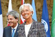 El comisario designado de Asuntos Económicos, Paolo Gentiloni y la nueva presidenta del Banco Central Europeo, Christine Lagarde