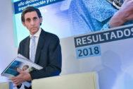 José María Álvarez-Pallete, presidente ejecutivo de Telefónica, en una presentación de resultados.
