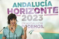 Teresa Rodríguez, líder de Podemos en Andalucía, tras reincorporarse de su baja de maternidad este martes.