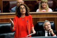 La ministra de Hacienda, María Jesús Montero, este miércoles en el Congreso de los Diputados.