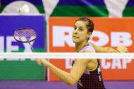 Carolina Marín, durante el  partido ante Katethong disputado en Vietnam.