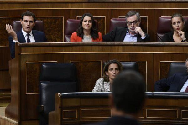 Albert Rivera e Inés Arrimadas reaccionan a la intervención de Pedro...