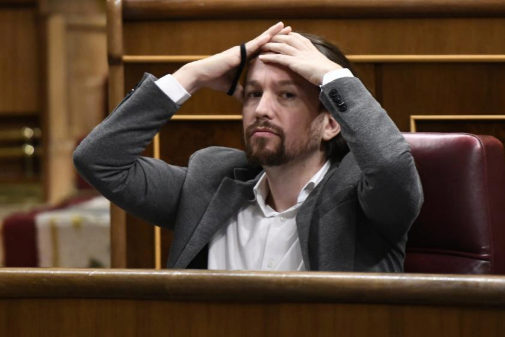 El líder de Unidad Podemos, Pablo Iglesias, ayer, en el Congreso.