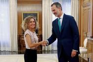 Felipe VI recibe a Meritxell Batet en el Palacio de la Zarzuela