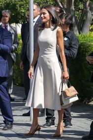 """La Reina ha recuperado el vestido de la colección primavera-verano 2019 de Pedro del Hierro que estrenó durante su <a href=""""https://www.elmundo.es/album/yodona/moda/2019/03/25/5c988d86fc6c8376038b45f4.html"""">'duelo de estilo' con Juliana Awada en Argentina</a> el pasado mes de marzo. Lo ha combinado con stilettos destalonados y bolso bicolor de Carolina Herrera."""