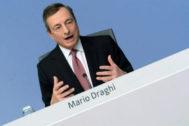 Draghi, este jueves tras la reunión del Consejo de Gobierno del BCE.