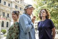 """Los actores Dolors Tuneu, Ramon Fontserè y Pilar Sáenz tras la presentación de """"Señor Ruiseñor""""."""