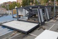 Módulos prefabricados en la escuela La Mar Bella de Barcelona.