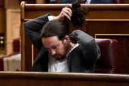 Pablo Iglesias, durante la última sesión en el Congreso con motivo de la comparecencia de Pedro Sánchez..