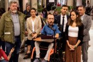 El equipo negociador de Unidas Podemos tras la última reunión con el PSOE en el Congreso.