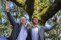Pablo Casado y Alberto Núñez Feijóo, en el acto del PP celebrado el pasado sábado en Galicia.