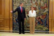 El Rey Felipe VI recibe en audiencia a la presidenta navarra, María Chivite, el pasado martes.